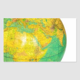 Globe with planet earth isolated on white rectangular sticker