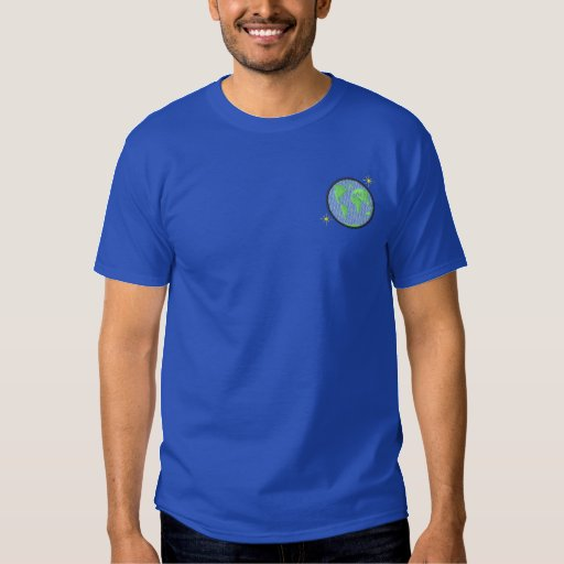 Globe with stars embroidered T-Shirt