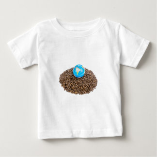 Globe with world on heap of whole coffee beans baby T-Shirt