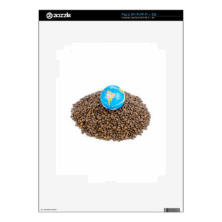 Globe with world on heap of whole coffee beans decal for iPad 2