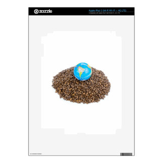 Globe with world on heap of whole coffee beans decals for iPad 3