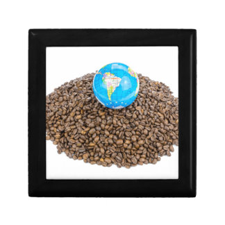 Globe with world on heap of whole coffee beans jewelry box