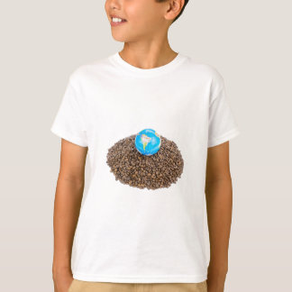 Globe with world on heap of whole coffee beans T-Shirt