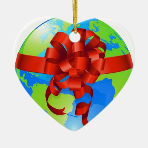 Globe world gift bow concept Double-Sided heart ceramic christmas ornament