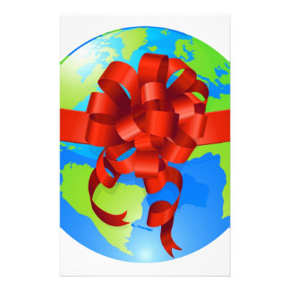 Globe world gift bow concept stationery paper