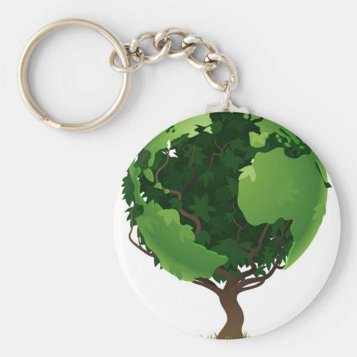 Globe world tree concept basic round button keychain