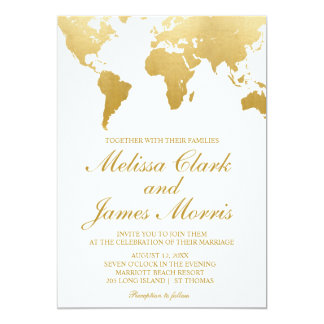 Globetrotter Glam Wedding Invitation