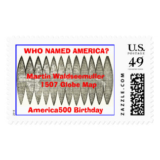 globlg,  WHO NAMED AMERICA?Martin Waldseemuller... Stamp