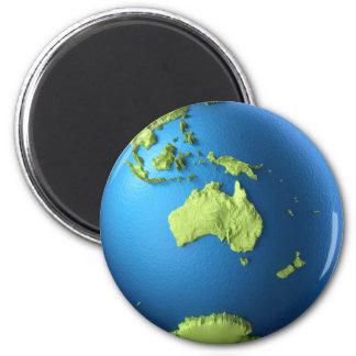Globo 3d aislado en blanco. Australia continente Imán Redondo 5 Cm
