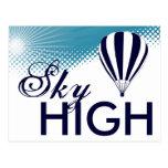 globo altísimo del aire caliente tarjetas postales