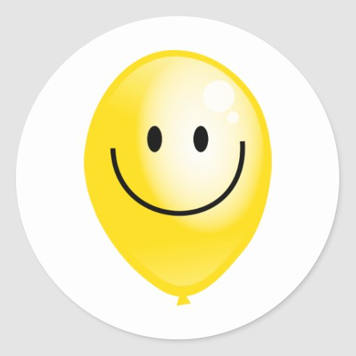 Globo amarillo de Smilie Etiquetas