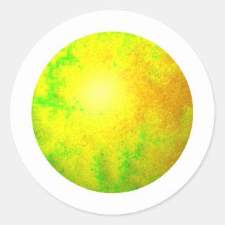 Globo amarillo verde del fractal pegatina redonda