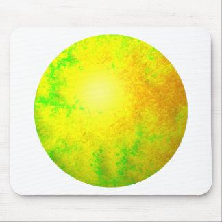 Globo amarillo verde del fractal alfombrillas de ratones
