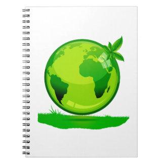 globo amarillo verde sobre el DES reflexivo de la  Libros De Apuntes