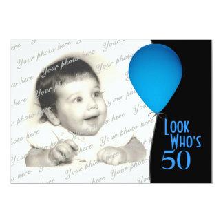 Globo azul del cumpleaños con la foto invitación 12,7 x 17,8 cm