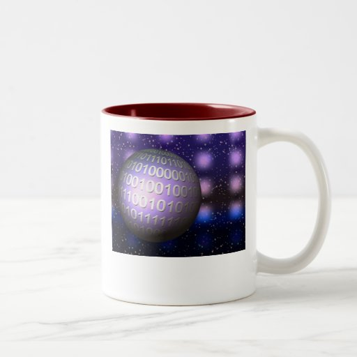 Globo binario taza de café de dos colores