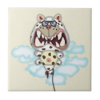 Globo blanco asustado divertido del gato con los v azulejo cuadrado pequeño