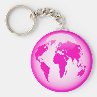 Globo brillante rosado llavero redondo tipo pin