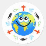Globo cristiano etiquetas redondas