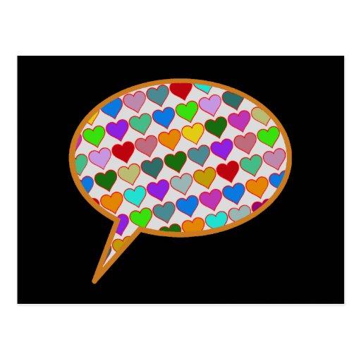 globo de discurso del amor tarjeta postal