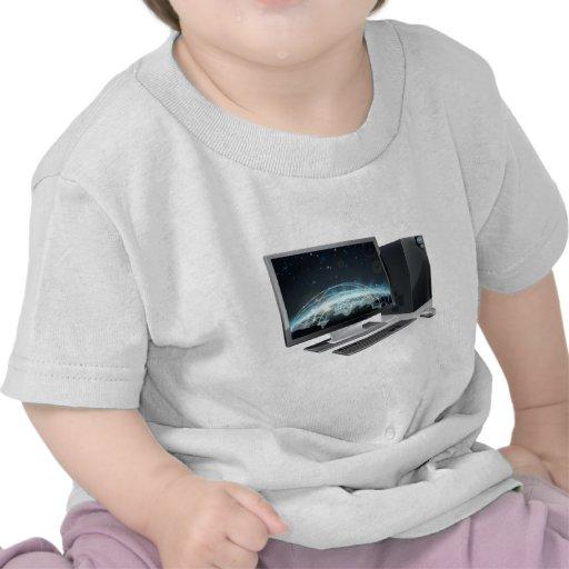 Globo de escritorio del mundo informático camisetas
