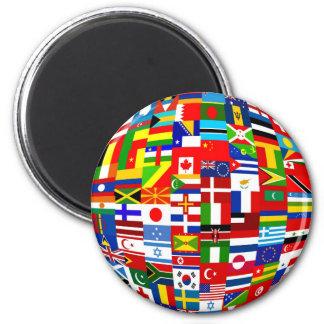 Globo de la bandera imán redondo 5 cm