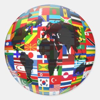 Globo de la bandera pegatina redonda