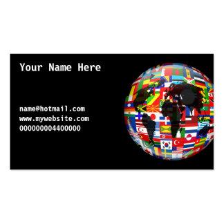 Globo de la bandera su nombre aquí tarjetas de negocios