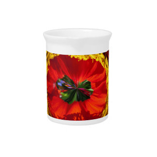 Globo de la flor en rojo y amarillo jarrón