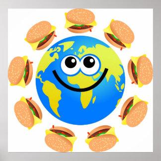 Globo de la hamburguesa póster