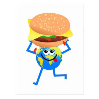 Globo de la hamburguesa tarjetas postales