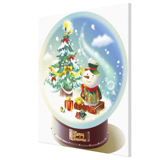 Globo de la nieve con el muñeco de nieve y el árbo lona envuelta para galerias