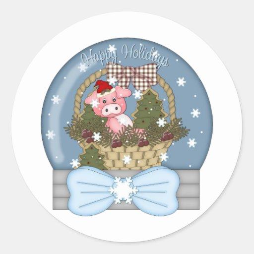 Globo de la nieve del cerdo del día de fiesta pegatina redonda