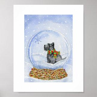 Globo de la nieve del escocés póster