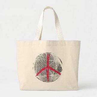 Globo de la paz ninguna guerra ninguna lucha bolsa tela grande