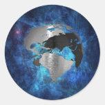 Globo de la tierra del metal pegatinas redondas