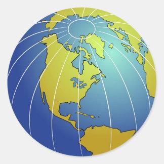 Globo de la tierra pegatina redonda