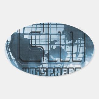 Globo de New York City Unisphere Pegatinas De Ovaladas