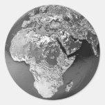 Globo de plata - África, 3d rinde Etiqueta Redonda