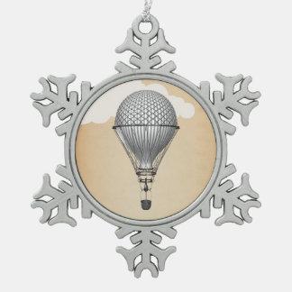 Globo del aire caliente de Steampunk Adorno De Peltre En Forma De Copo De Nieve