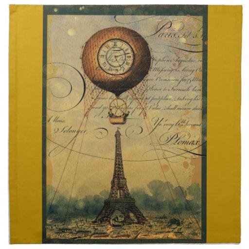 Globo del aire caliente de Steampunk de la torre E Servilletas De Papel