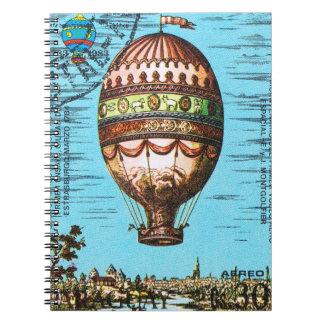Globo del aire caliente de Steampunk del vintage Cuaderno