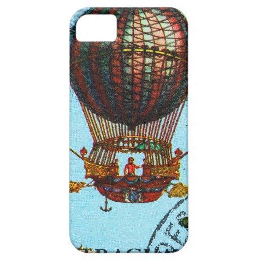 Globo del aire caliente de Steampunk del vintage Funda Para iPhone 5 Barely There