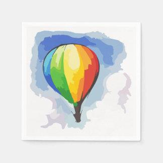 Globo del aire caliente del arco iris servilletas desechables