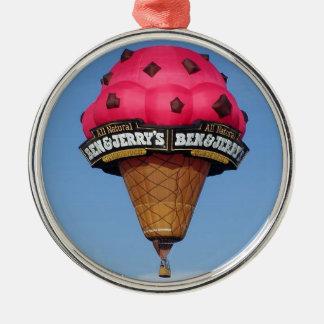 Globo del aire caliente del cono de helado adorno navideño redondo de metal