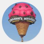Globo del aire caliente del cono de helado pegatinas