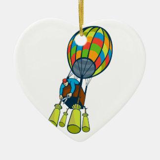 Globo del aire caliente del lastre del corte del adorno navideño de cerámica en forma de corazón