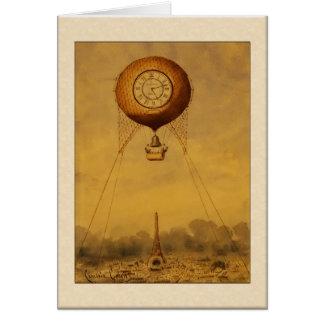 Globo del aire caliente del vintage con saludos de tarjeta