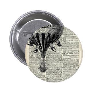 Globo del aire caliente del vintage pin redondo 5 cm