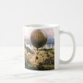 Globo del aire caliente, dirigible, transporte del taza de café